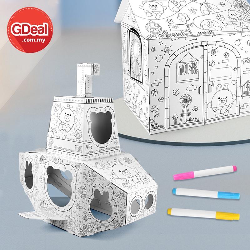GDeal 3D Graffiti Handmade Paper Art Toy Customizable Play House Foldable Cardboard Play House Permainan Lukisan Budak