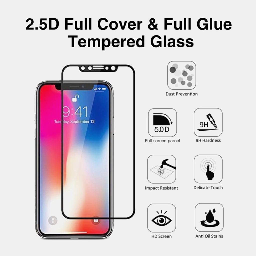 Realme C1 / C2 / Realme 2 / 2 Pro / Realme 3 / 3 Pro Full Glue Full Covered  Tempered Glass