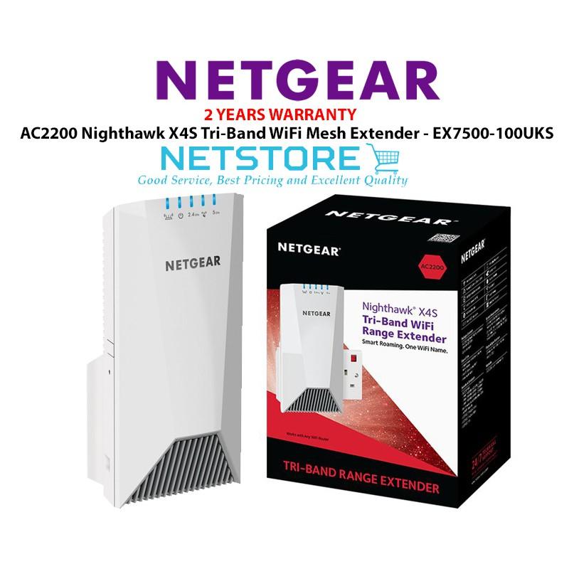 Netgear AC2200 Nighthawk X4S Tri-Band WiFi Mesh Extender - EX7500  EX7500-100UKS
