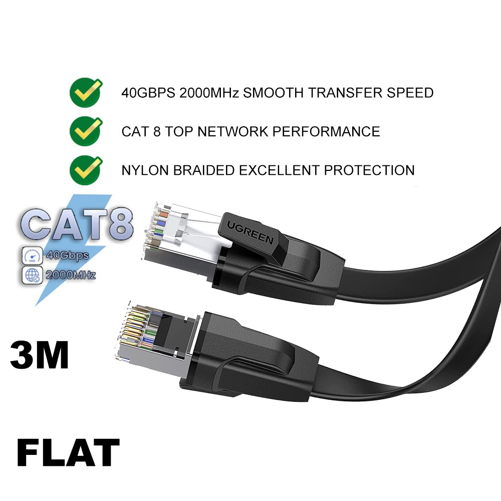 UGREEN Cat8 Ethernet Flat Cable 40Gbps 2000Mhz RJ45 Network LAN Cord Wi Fi Router Laptop PC High Speed Networking Cat 8