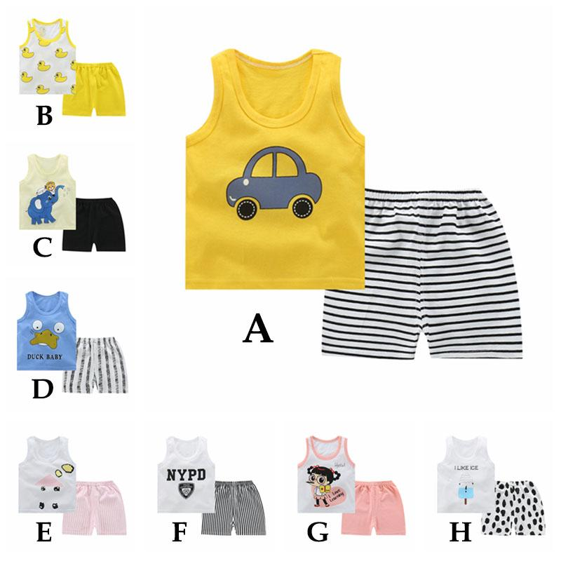 156dd9920920d 0-3 Year Children Cute Cartoon T-shirt Pants Set Summer Casual ...
