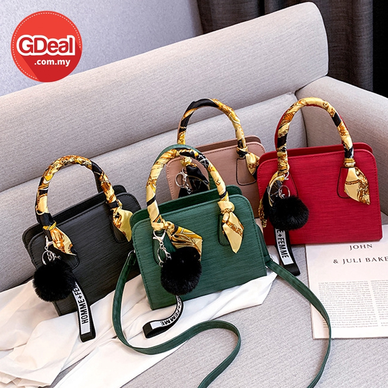 GDeal Korean Fashion Simple PU Shoulder Dinner Casual Leisure Bag With Scarf Handle Beg Tangan Wanita بيڬ تاڠن وانيتا