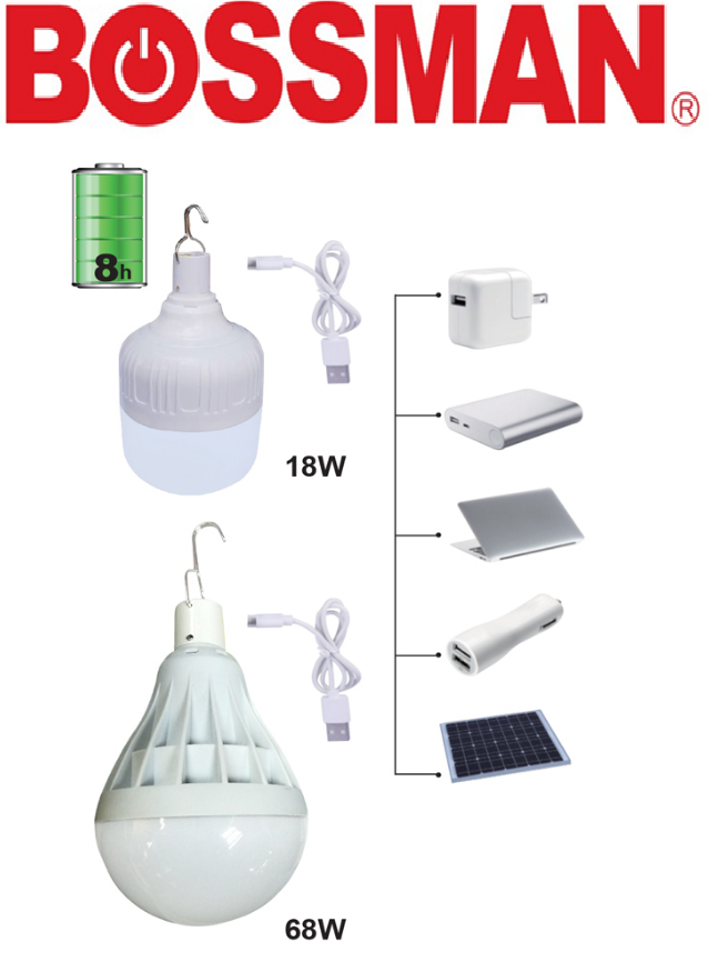 BOSSMAN RECHARGEABLE EMERGENCY LED LIGHT BULB