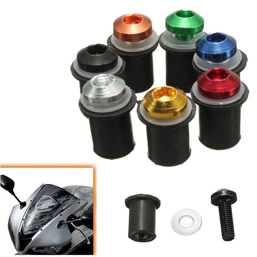 CNC 5mm Bolts Well Nuts Hex Key Washers for Sportbike Windscreen Windshield 10x