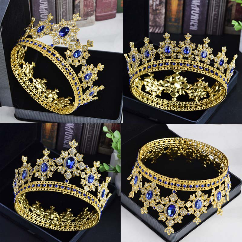 Pageant Full Circle Tiara Rhinestones King Queen Wedding Bridal Crown  202b1213bb98