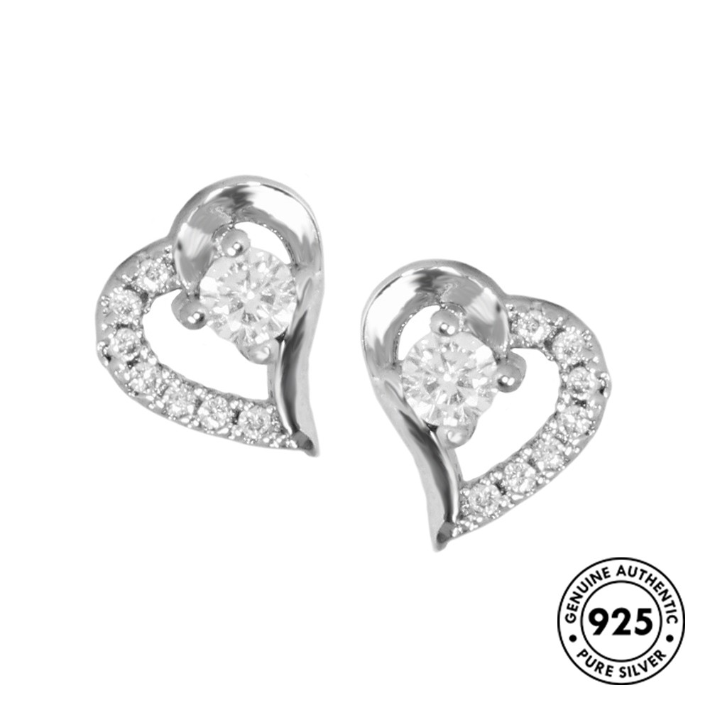So Chic Jewels Star 9mm 925 Sterling Silver Ear Studs with Cubic Zirconia