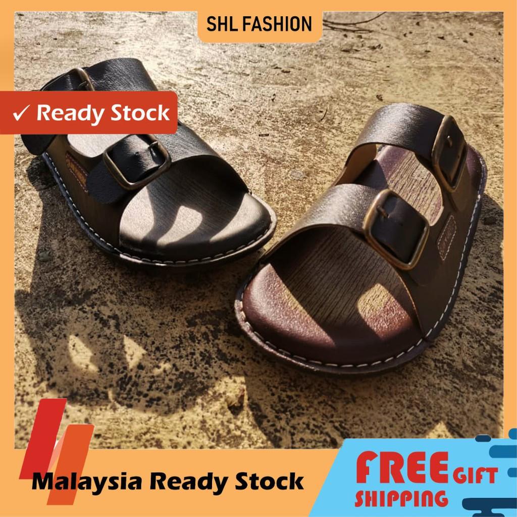 SHL Men PU Leather Sandal Premium Selipar Kasut Lelaki size 6-10【男士拖鞋】-655
