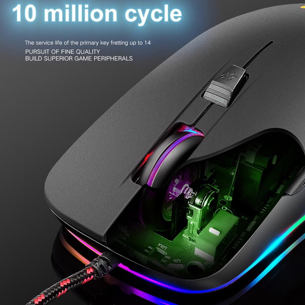 V6 Wired RGB LED Backlit 2400DPI Optical Usb Ergonomic Gaming Mouse PC Laptop