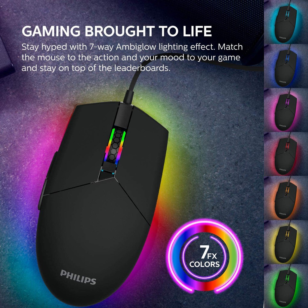 Philips SPK9304 6400DPI Wired Gaming Mouse with 7 Colors Ambiglow Breathing RGB SPK 9304 G304