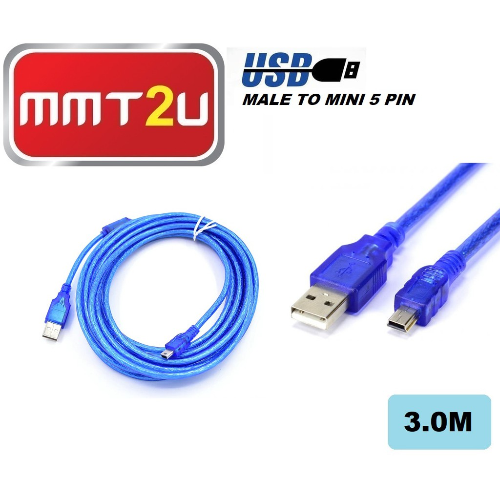 Supplies High Speed Mini 5pin Male To Male USB 2.0 Hub Blue Cable Adapter