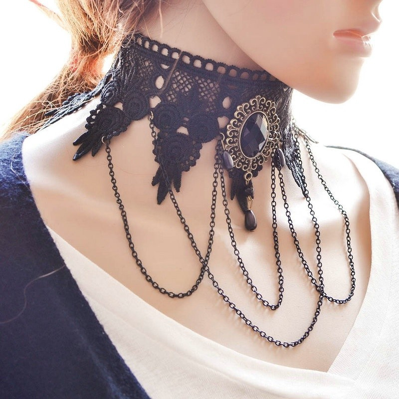 6e40ef2bfc2fe Vintage Jewelry Gothic Black Lace Flower Choker Collar Necklace Charm