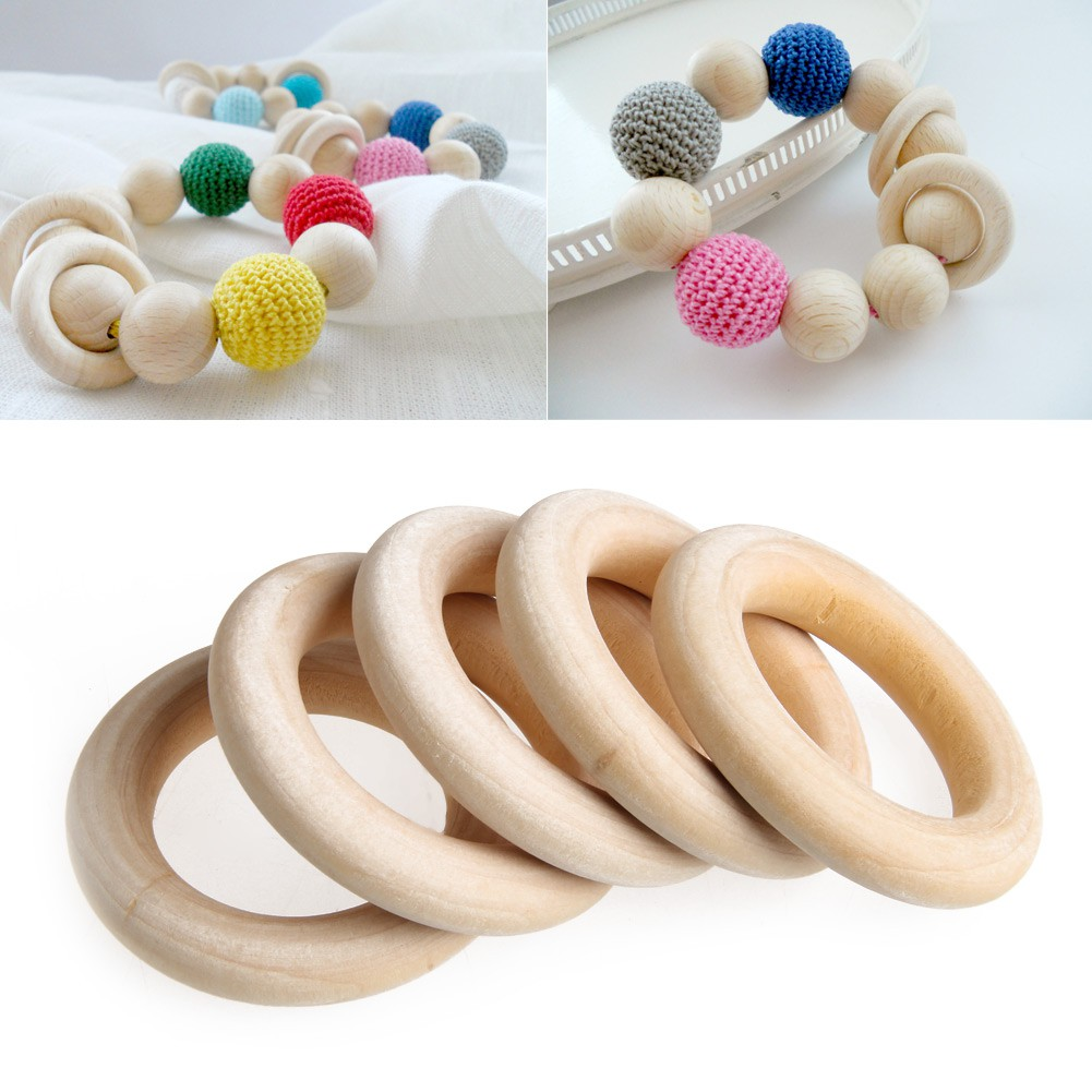 ❤5pcs DIY Baby Teething Natural Wooden Rings Necklace Bracelet 55mm