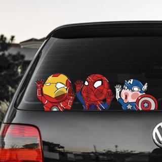 Funny Cartoon Marvel Avengers Super Hero Car Sticker Superman Spiderman Hit The Window Decal Shopee Malaysia