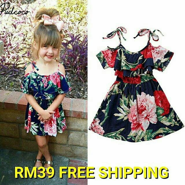 e4b4897a56b7d Vintage Floral Girls Dress Ruffle Sleeve Off Shoulder Flower
