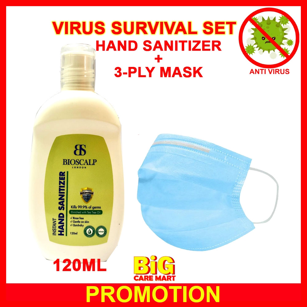 Virus Surgical 3 Ply Mask 1pc + Bioscalp Hand Sanitizer 120ml