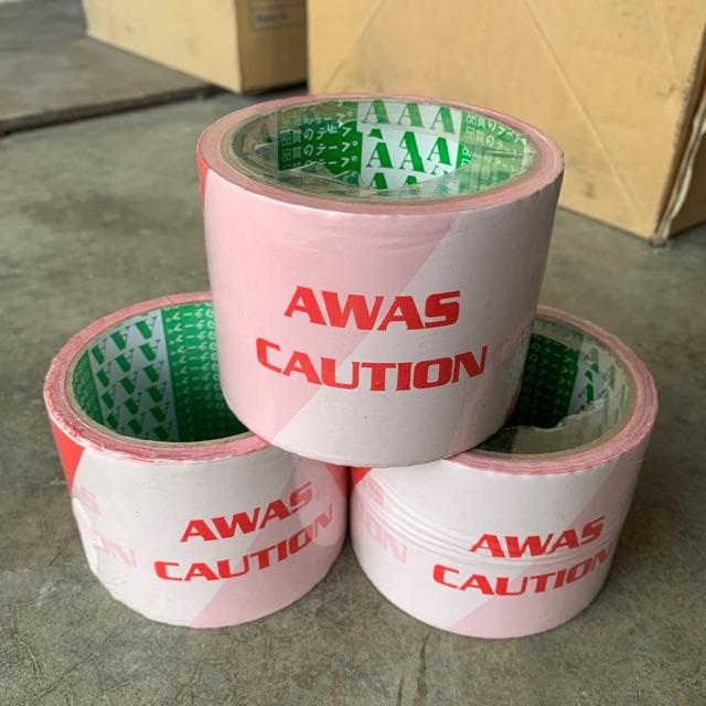 Red White Awas Caution Tape (60m)