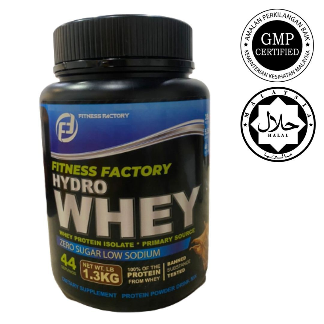 Fitness Factory Hydrowhey 1.3KG Zero Sugar Whey Protein Lean Muscle Halal GMP Certified 50 Scoops Servings (READY STOCK)