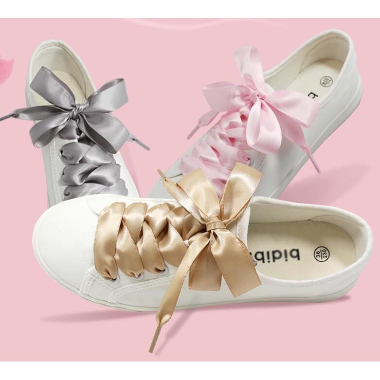 d291694f0b707 Ready Stock 2cm Width Wide Flat Satin Silk Ribbon Shoelaces 120cm Shoe Laces