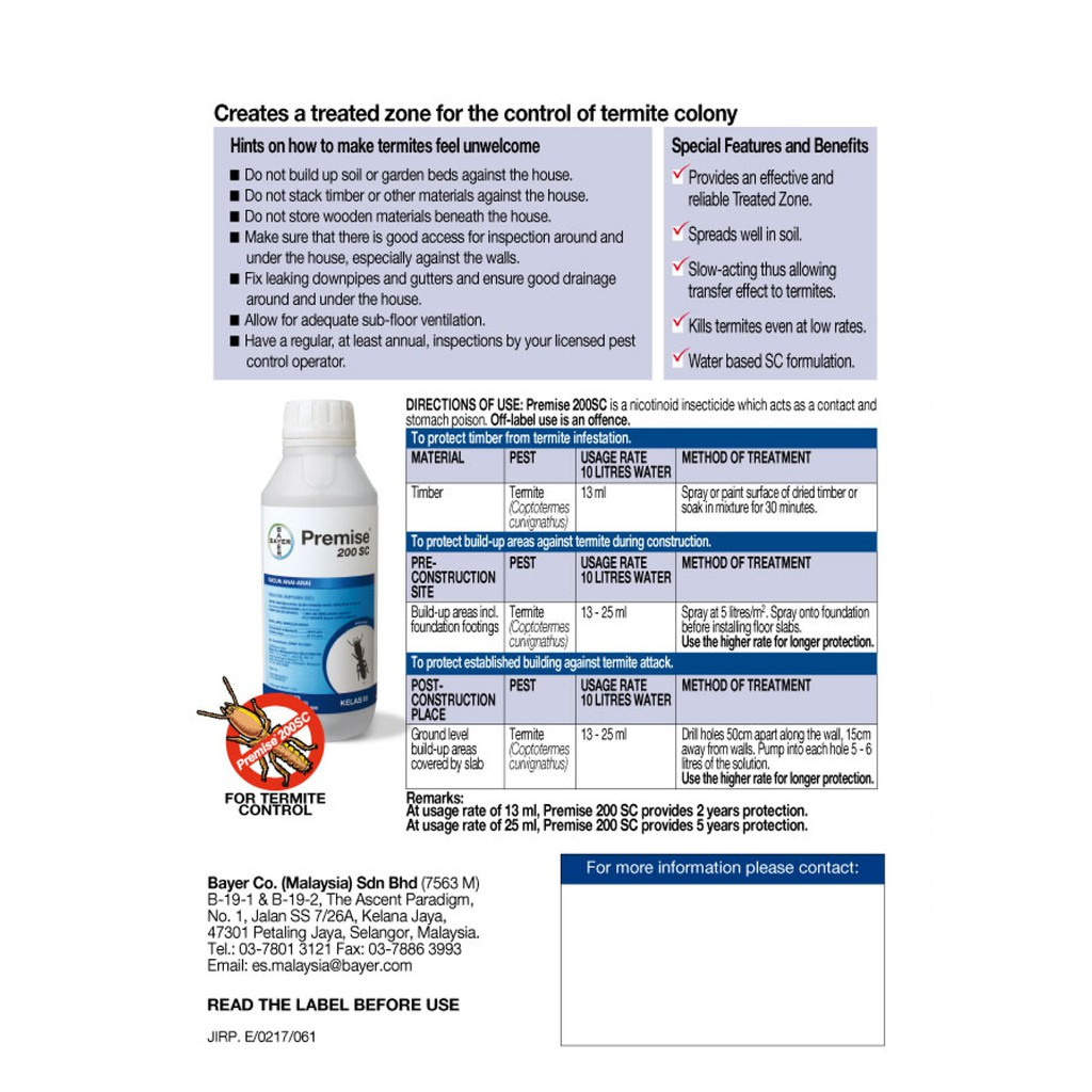 Bayer Premise 200 Sc Termite Elimination Chemical Germany Formulated Shopee Malaysia