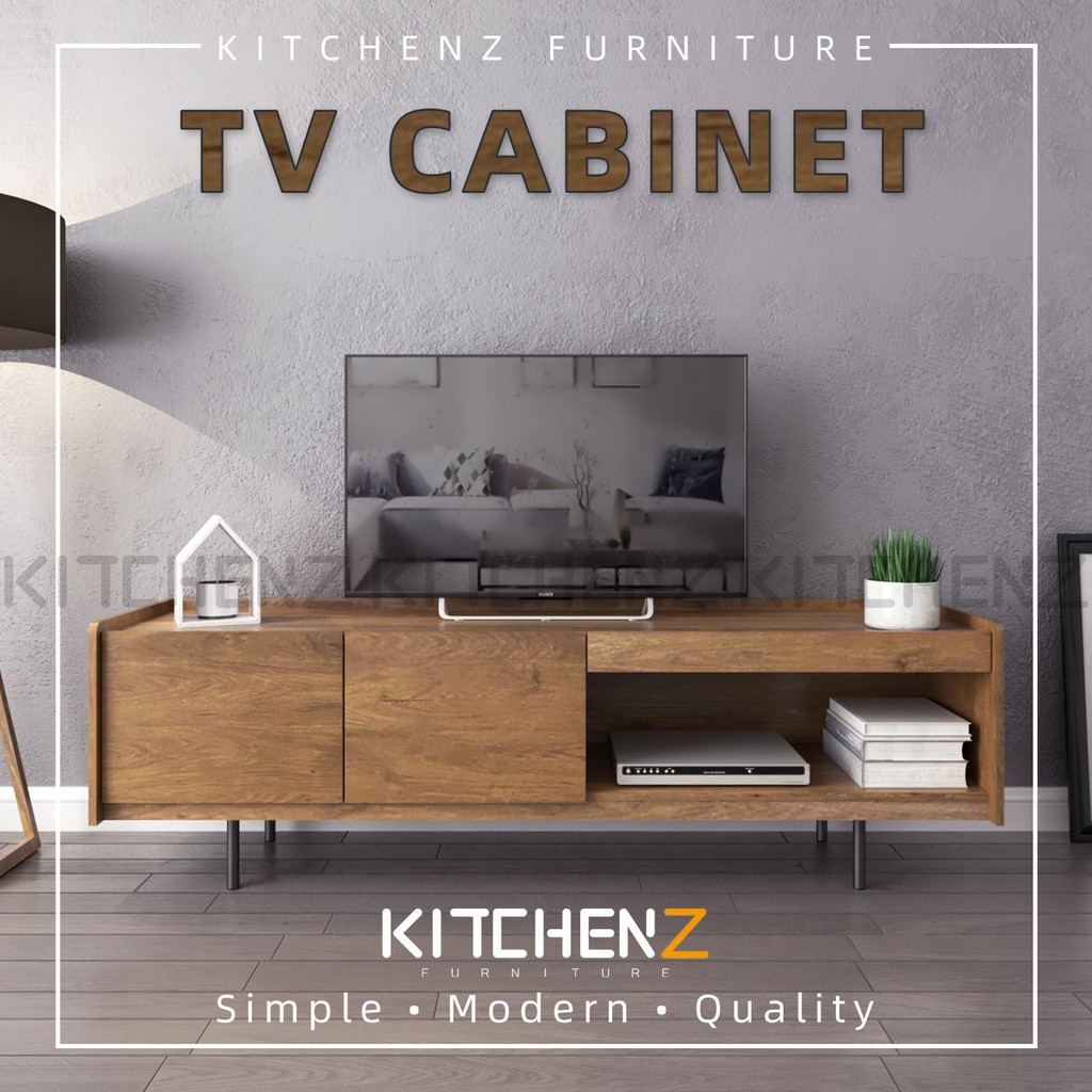 KitchenZ Apolo Series 6Ft Tv Cabinet Modernist Design Solid Board Tv Rack with Metal Leg - HMZ-FN-TC-A6016-CO