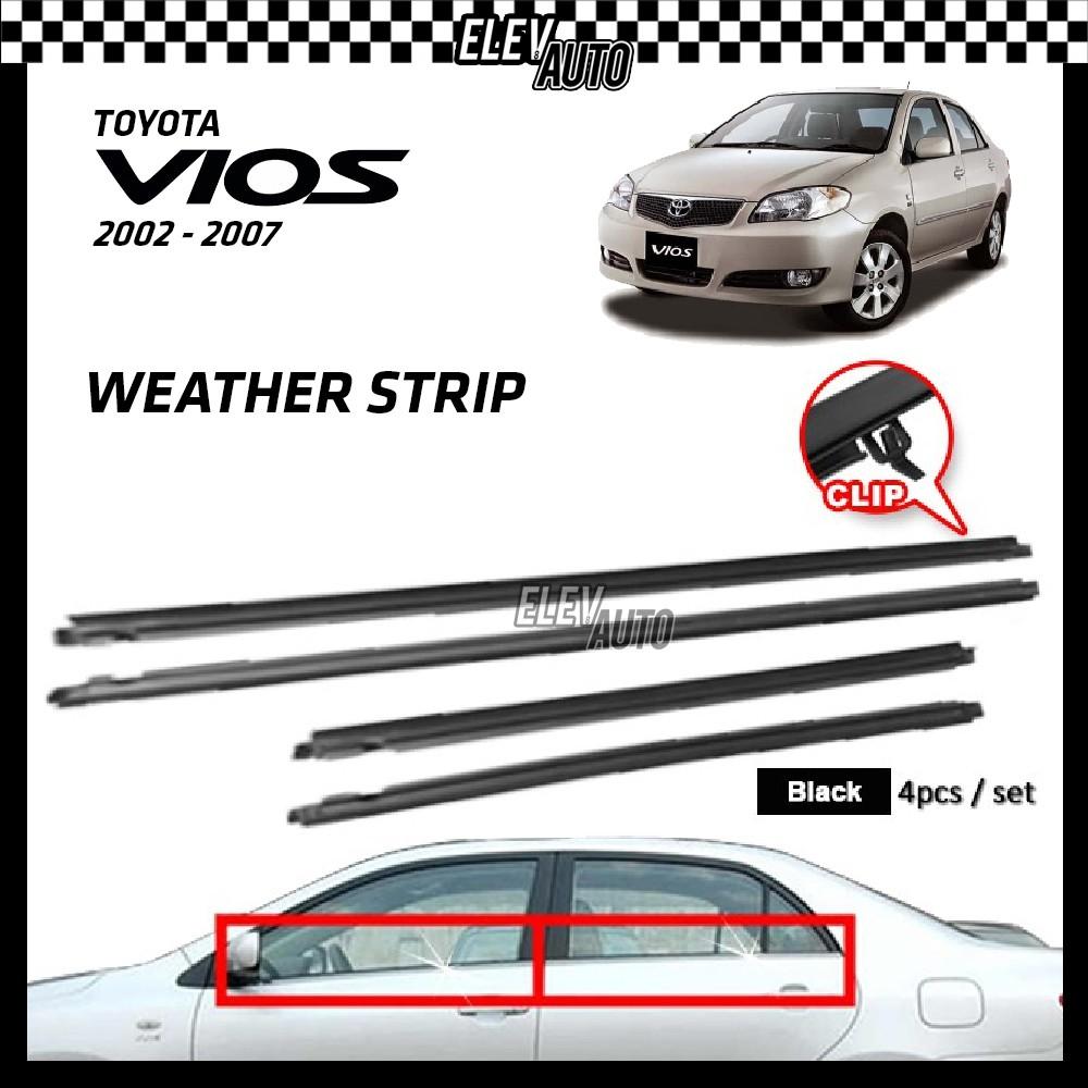 Toyota Vios 2002-2007 Weather Strip Weatherstrip Window Moulding Belt 4pcs (Black)