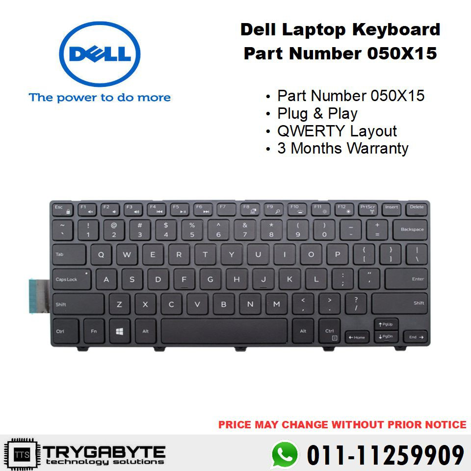 Laptop Dell Inspiron Keyboard Part Number 050X15 / Keyboard Replacement