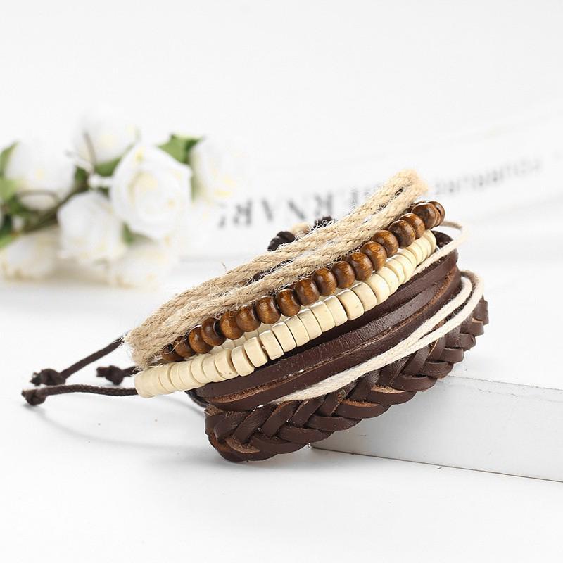 Adjustable Wooden Beads Knitted Diy Leather Bracelet