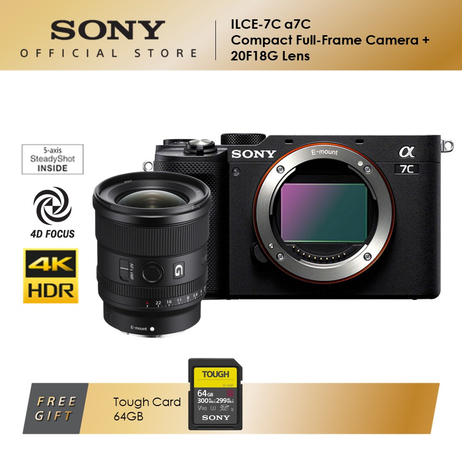 Sony ILCE-7C Compact Full-Frame Camera + SEL20F18G Lens