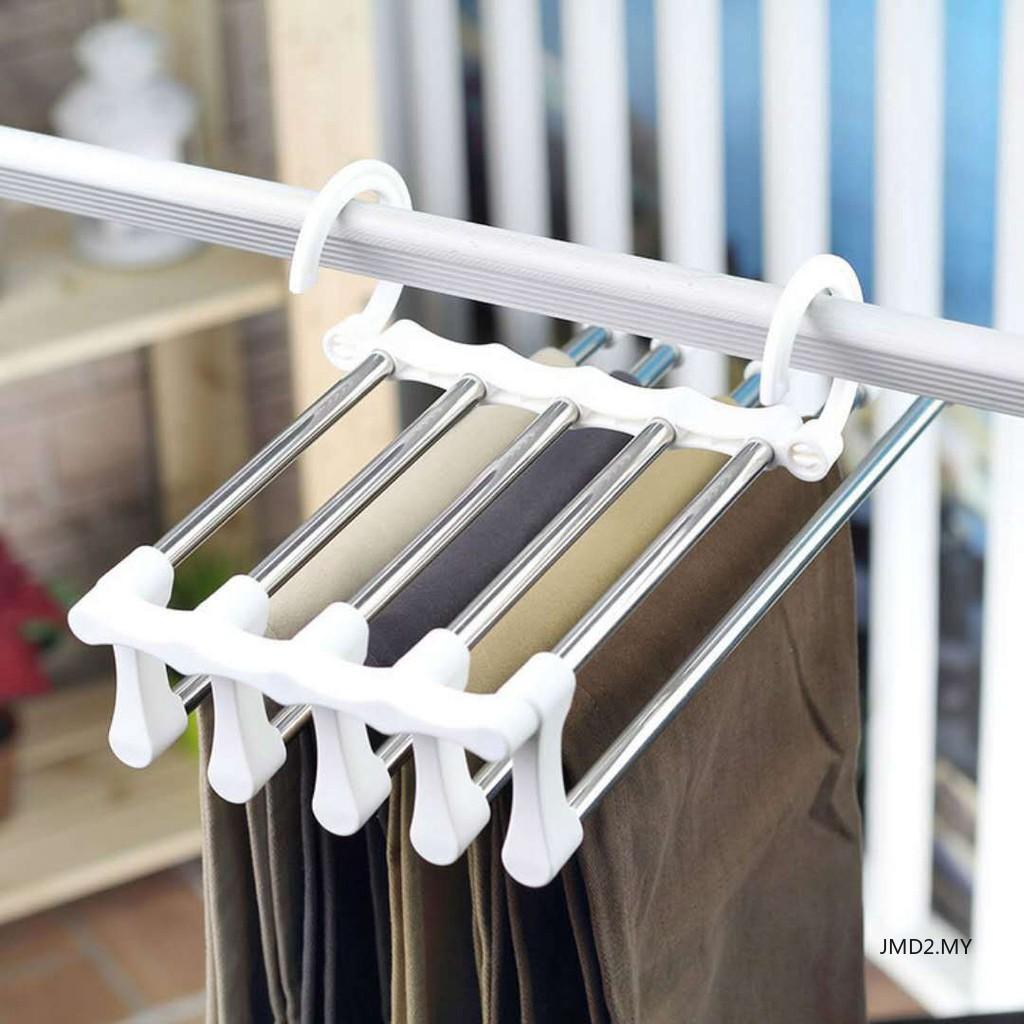 Black Multi-layer Folding Hanger Pants Rack Multi-functional Pants Clip  Hanger Storage