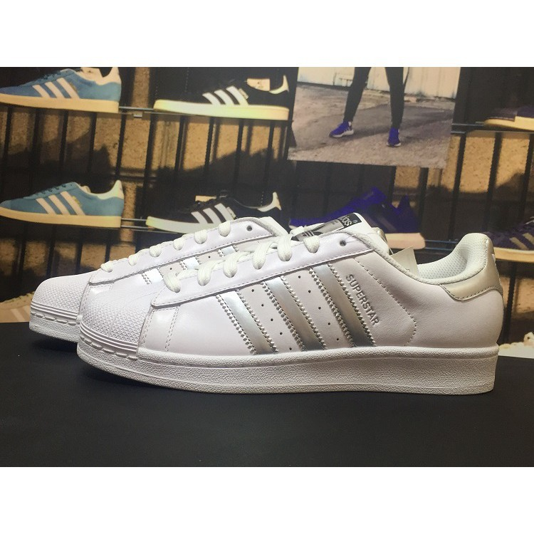 adidas Originals Women's Superstar Fashion Sneakers free shipping white silver