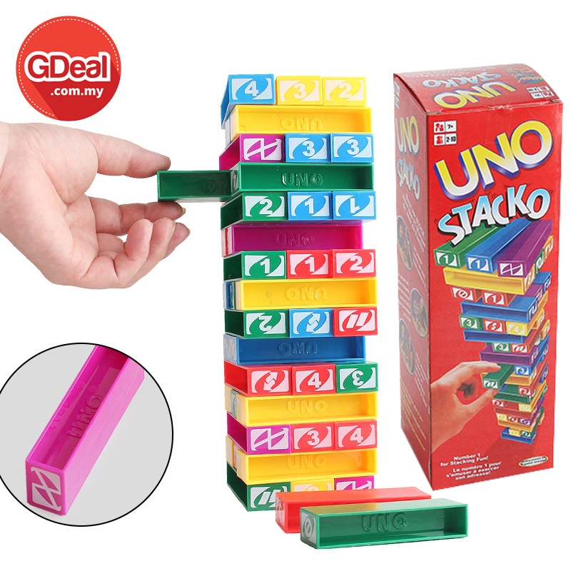 GDeal Early Education Kid Toys 45 Grain Stacking High Digital Stacking Family Game Uno Stacko Stacking Jenga Game