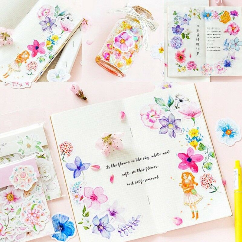 45Pcs Journal Kawaii Diary Decor Flower Stickers Scrapbooking Stationery Supply