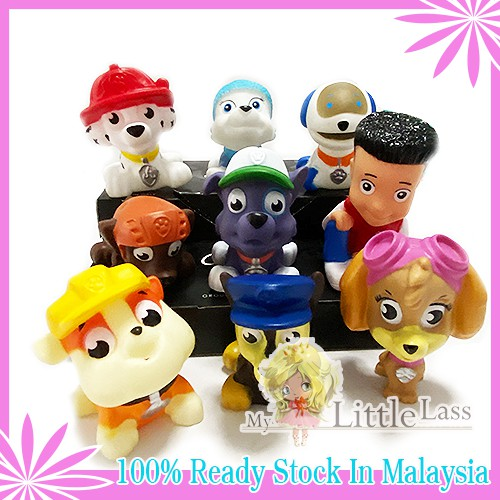 9Pcs Paw Patrol Figures Cake Topper with Squeack Toys for boys