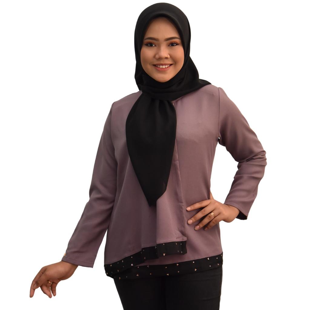 SYAFEEQA BLOUSE Fashion  Design Muslimah  Premium Como Crepe Long Sleeves Plain Lengan Panjang RAYA COLLECTION 2021