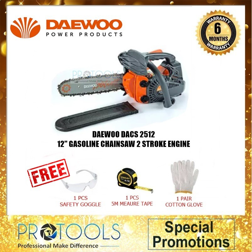 "Daewoo CHAIN SAW 12"" (25CC) DACS2512 - 1x cotton glove + safety google +stanley"