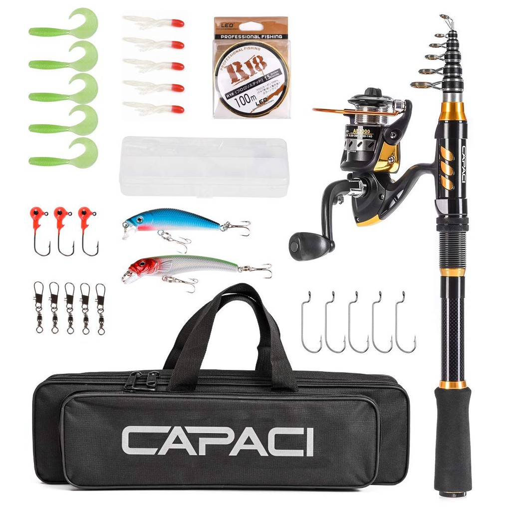 Portable Telescopic Fishing Rod and Reel Combos Carbon Fiber Fishing Pole  with Full Kits Carrier Bag for Travel S