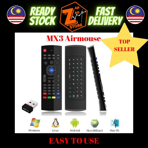MX3 2.4G Wireless Air Mouse with Keyboard Smart Remote Control for Android TV Box Smart TV PC Laptop PS3 Xbox Projector