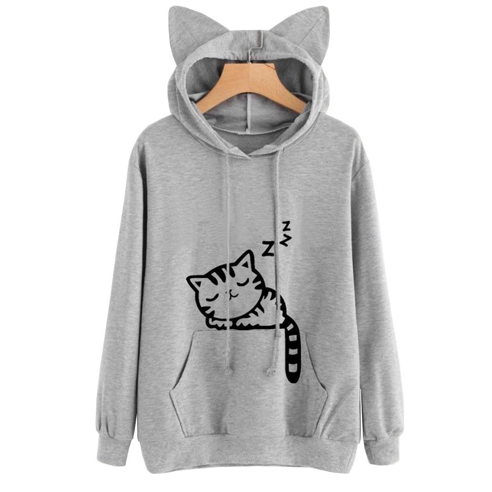 Womens Long Sleeve My Hero Academia Print Cute Cat Ear Pullover Hoodie Pocket Sweatshirts