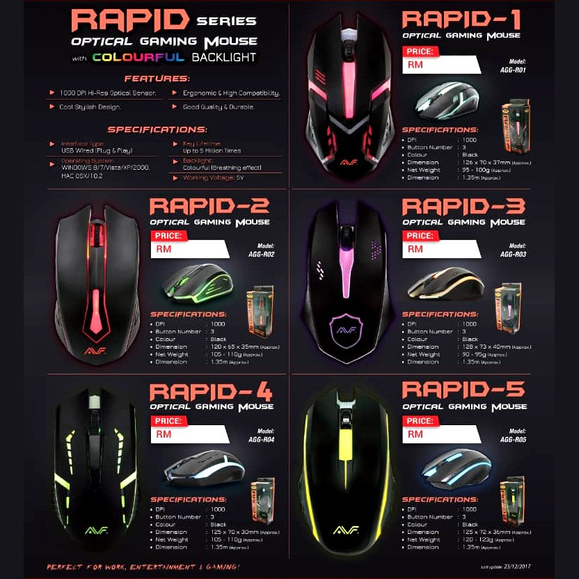Official AVF Gaming Gears RAPID 1/2/3/4/5 USB Gaming Mouse Colourful  Backlight