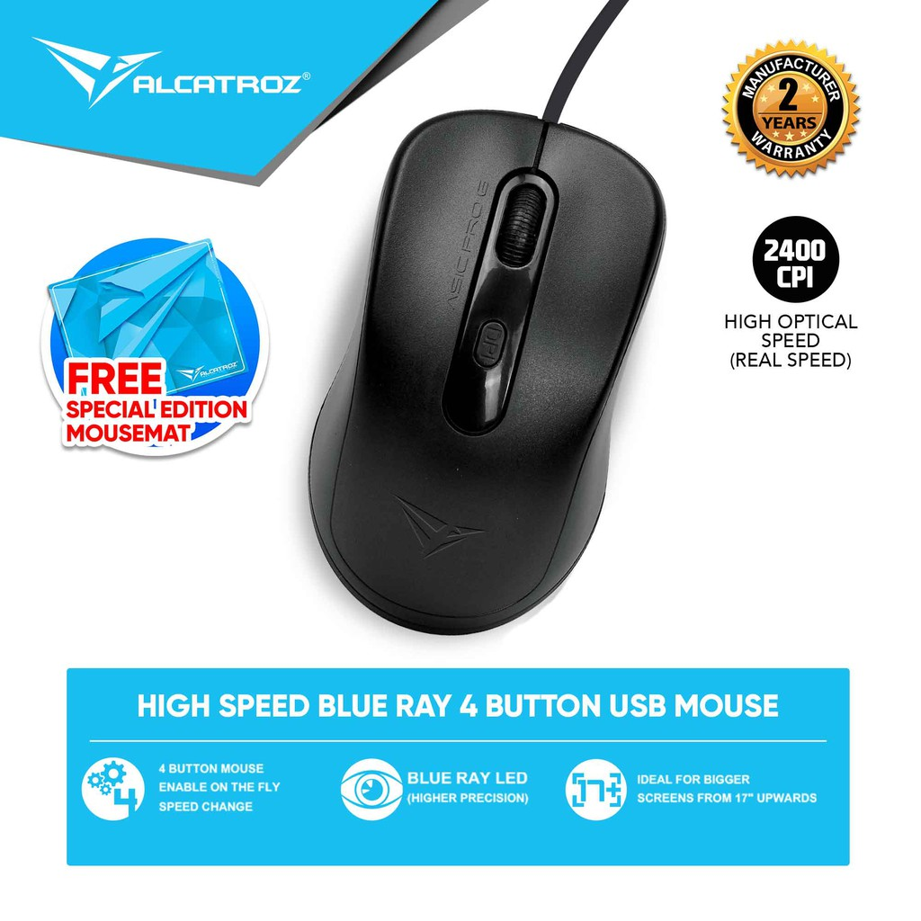 Alcatroz Asic Pro 6 (2400 CPI) Blue Ray 4 Button USB Mouse Free Mousemat