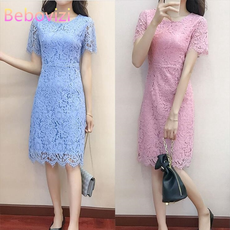 5 Colours Lace Women Slim Midi Dresses Korean Fashion Female Dinner Party  Dress