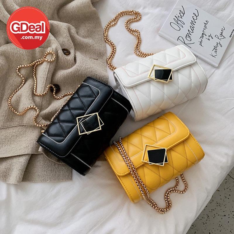 GDeal Korean Women Fashion Rhombus Design Chain Strap Shoulder Messenger Casual PU Sling Bag (RYL-297)