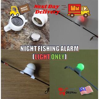 2 in 1 LED Night Fishing Rod Tip Clip on Fish Strike Bite Alert Alarm Light DI