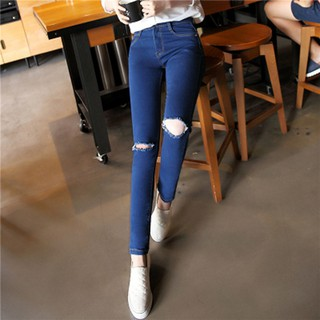 Korean Style Denim Jeans Knee Hole Personality Worn Feet Fashion Trousers