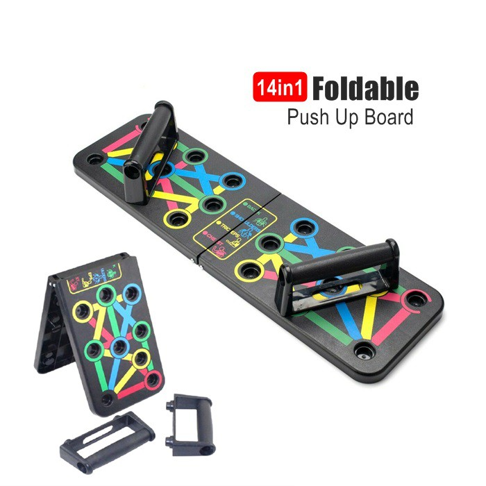 Foldable Push Up board Push Up bar Rack Board 14 in 1 Board [with 10-60kg Hand Trainer]