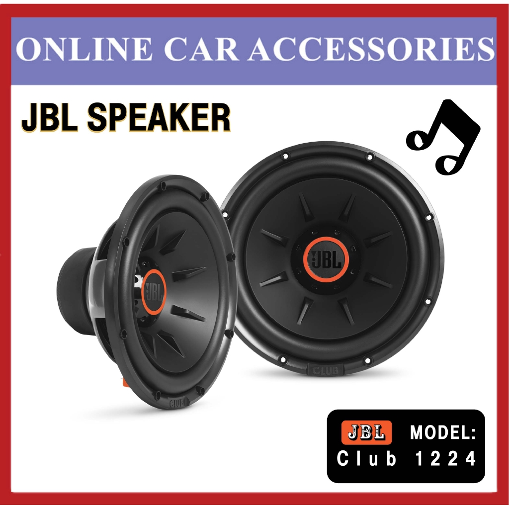 """JBL Club 1224 1100W Max (275W RMS) 12"""""""" Club Series Single Selectable 2 or 4 ohm Car Subwoofer"""
