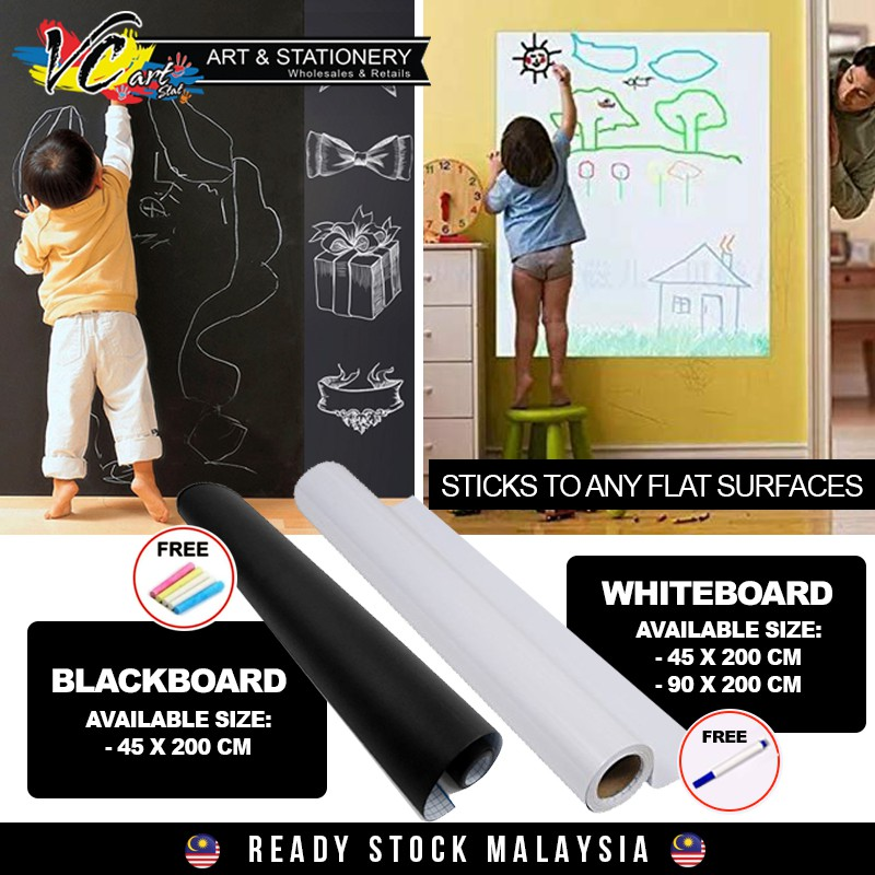 【VC-ART my】Craft E Chalkboard Blackboard /Whiteboard Wall Sticker + FREE  Chalks/Marker