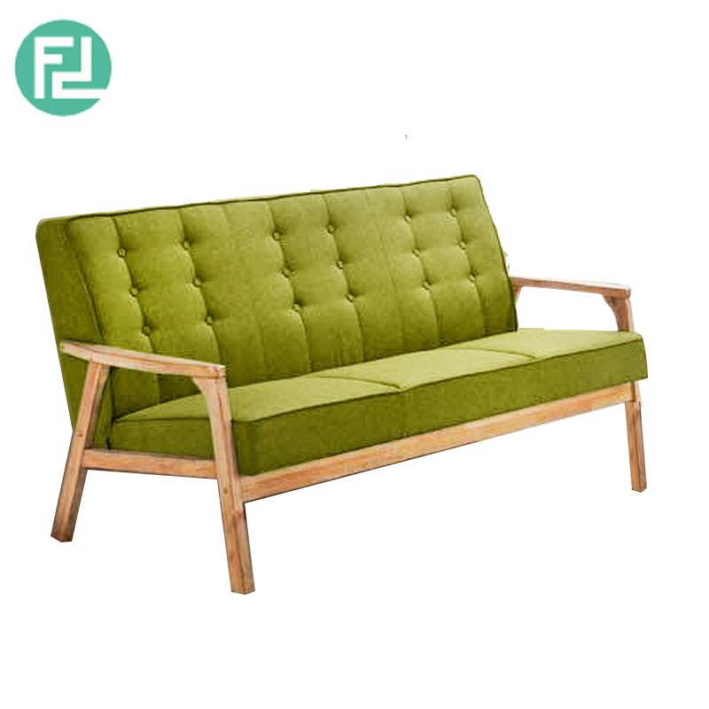 Furniture Direct SOMERSET SOLID WOOD 3 SEATER FABRIC SOFA-GREEN