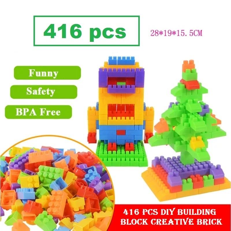 [ READY STOCK ]  416 Pcs Diy Building Block Creative Brick Toy Lego Kid Baby Mainan Jualan Murah Box Storage Budak Boy