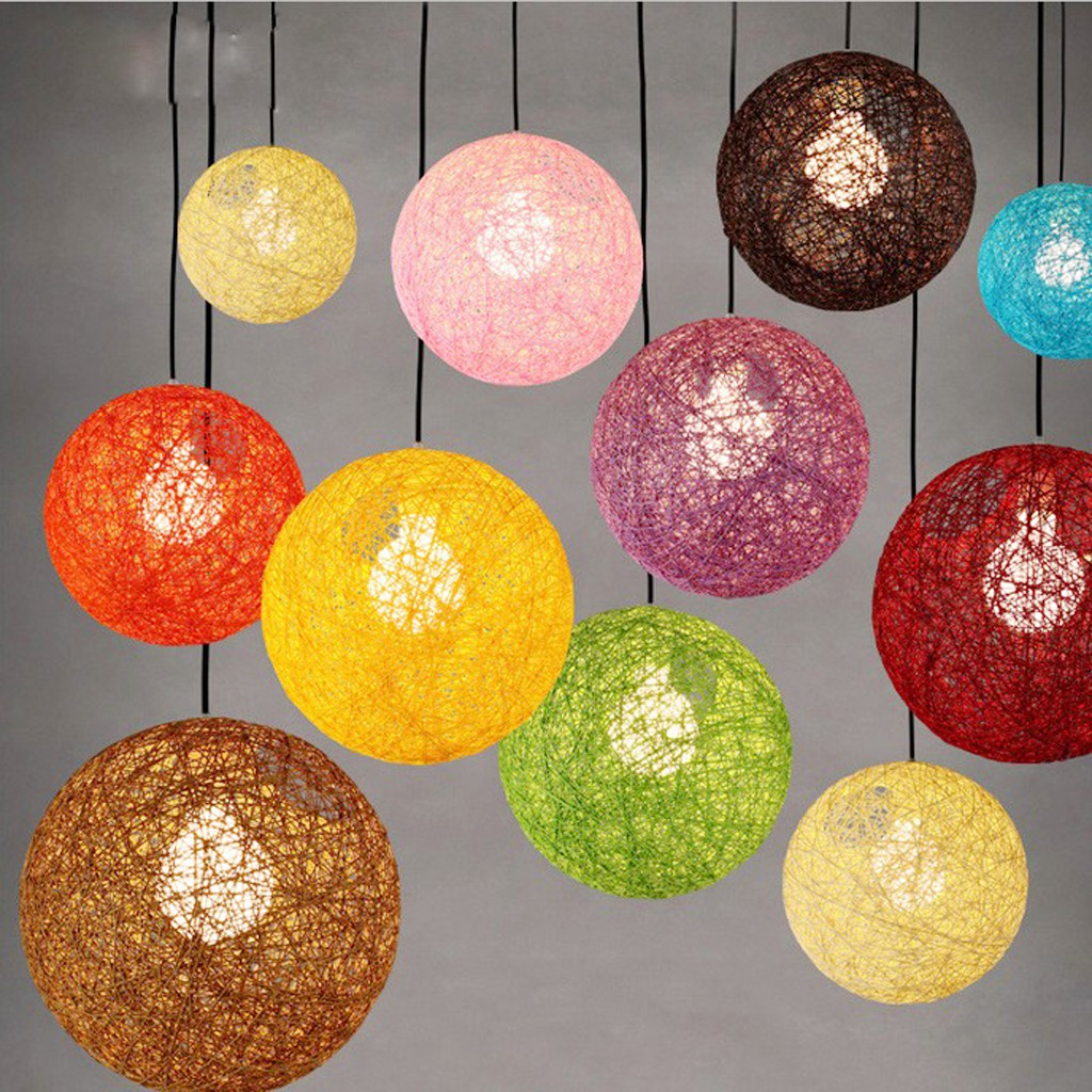 Picture of: Chandeliers Ceiling Fixtures Modern Round Rattan Wicker Ceiling Pendant Light Lamp Shade Lampshade Home Home Garden